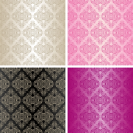 pink and black: Seamless wallpapers - set of four colors  Illustration