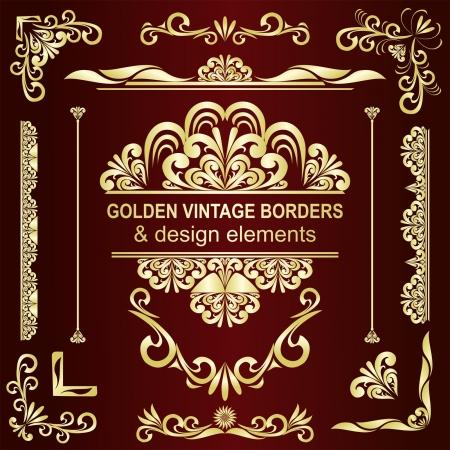 Golden vintage borders   design elements - set  Illustration