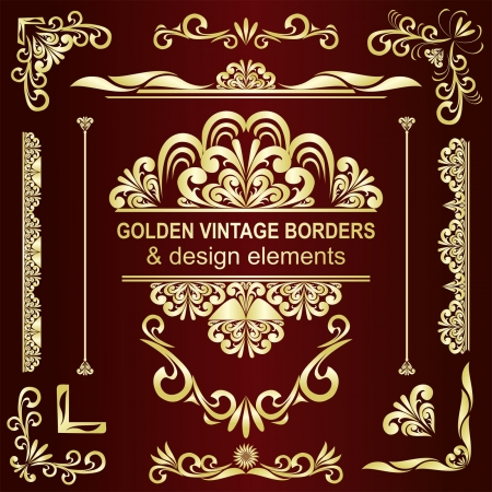 Golden vintage borders   design elements - set  Иллюстрация