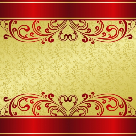 Luxury Background decorated a Vintage ornament: gold and red  Vector