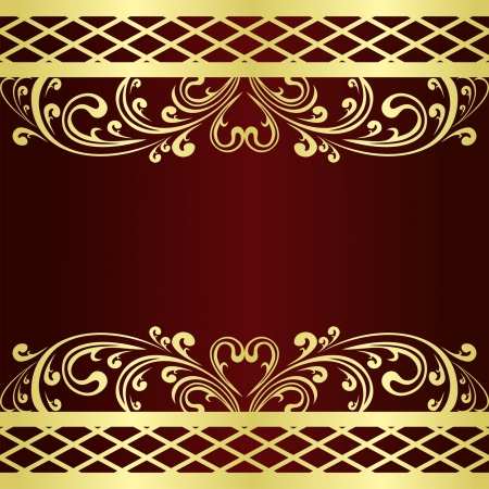Luxury claret Background decorated a gold Vintage ornament   Vector