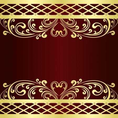 claret: Luxury claret Background decorated a gold Vintage ornament