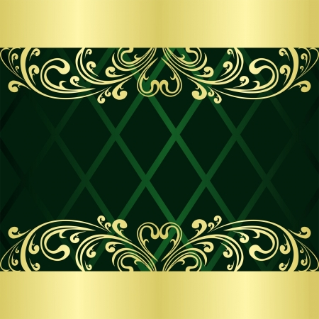 Luxury rifle-green Background decorated a gold Vintage ornament Vector