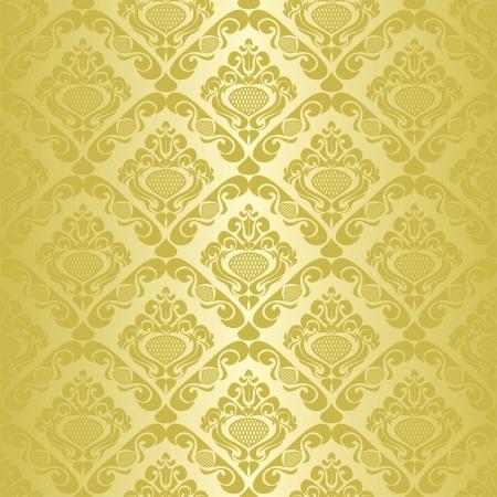Gold seamless wallpaper - style retro  Illusztráció