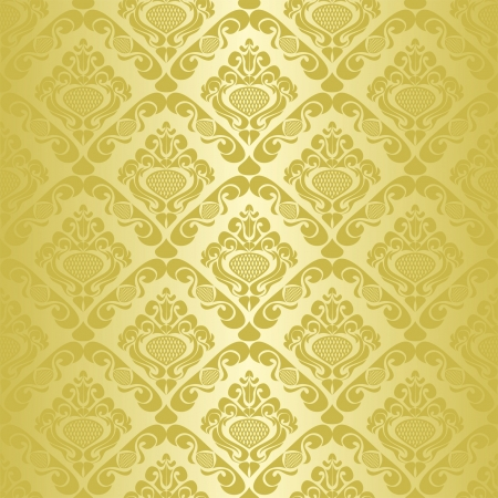 Gold seamless wallpaper - style retro  Иллюстрация