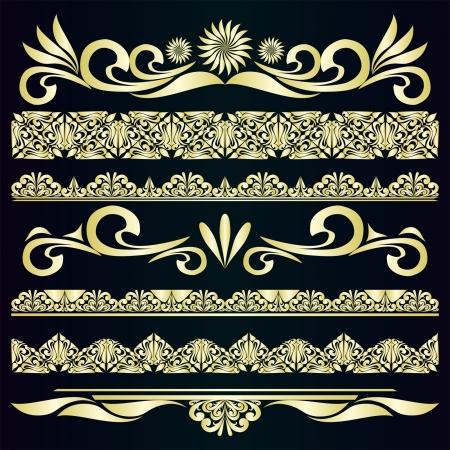 Golden vintage borders   design elements  Illustration