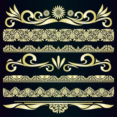 Golden vintage borders   design elements  Иллюстрация