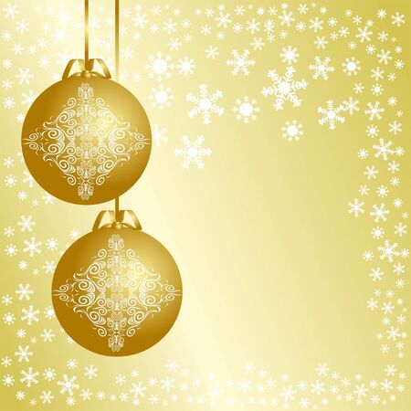 Golden christmas background with christmas balls Stock Vector - 16133526