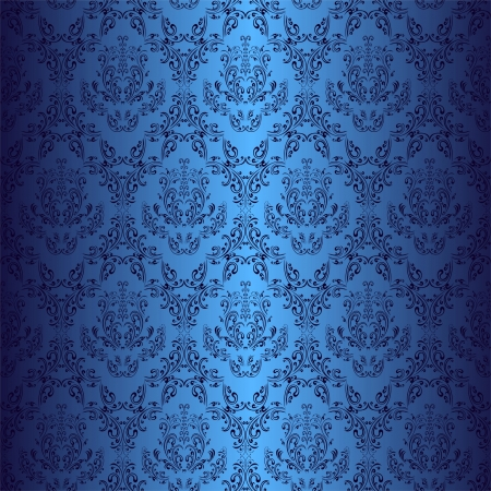 antiek behang: Naadloze donkerblauw behang in retro stijl Stock Illustratie