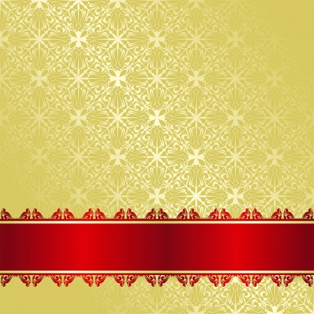 royal rich style: Luxury golden Background decorated a red ribbon  Illustration