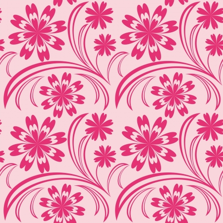 greener: Pink floral seamless wallpaper. Illustration