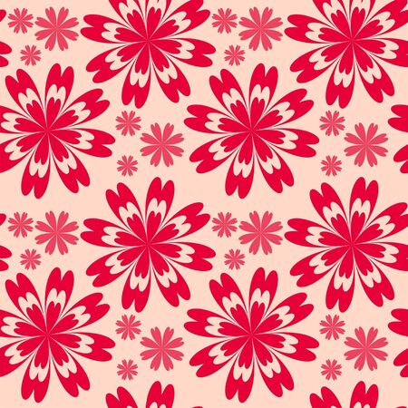 greener: Floral seamless pattern with red flowers.  Illustration