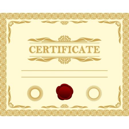 guarantee seal: Certificate template. Illustration
