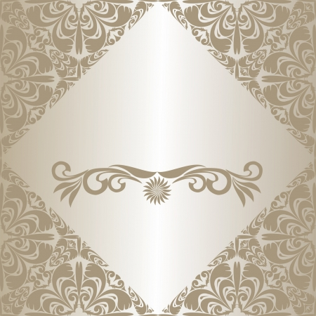regency: Luxury silver  frame, decorated a ornament. Illustration
