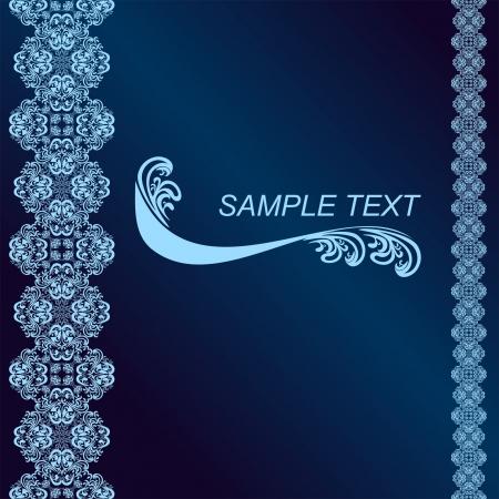 regency: Luxury dark blue Background decorated a blue border. Illustration