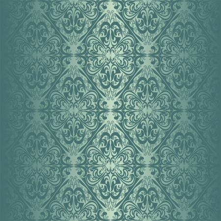 regency: Turquoise seamless wallpaper. Illustration