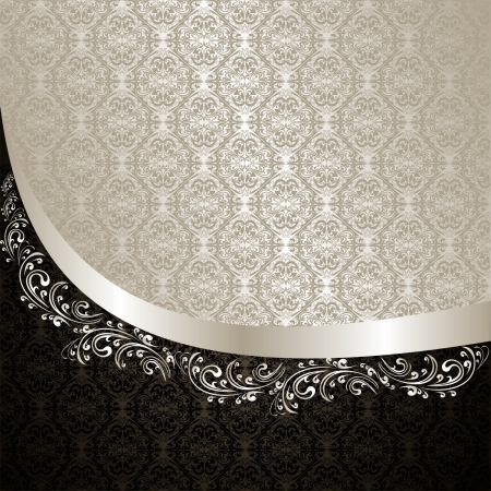 Luxury Background decorated a Vintage ornament  silver and black  Illustration