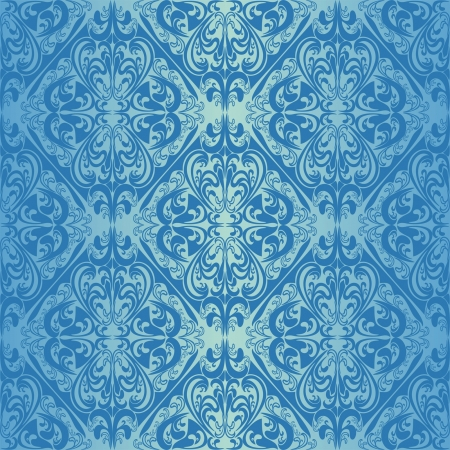Seamless blue wallpaper - style retro  Stock Vector - 16844669