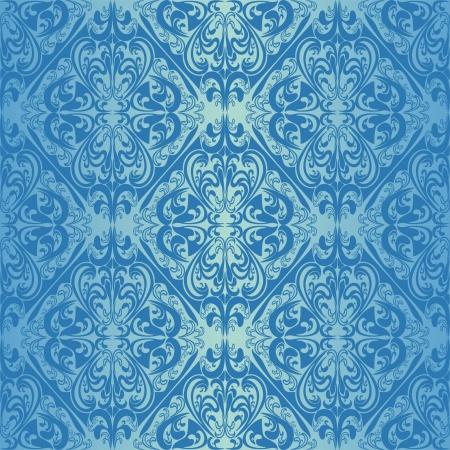 regency: Seamless blue wallpaper - style retro