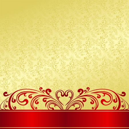 Luxury Background decorated a vintage ornament: gold and red. Vector
