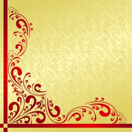 Luxury Background decorated a vintage border: gold and red. Vector