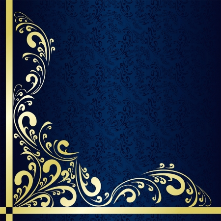 gold floral: Luxury dark blue Background decorated a gold border