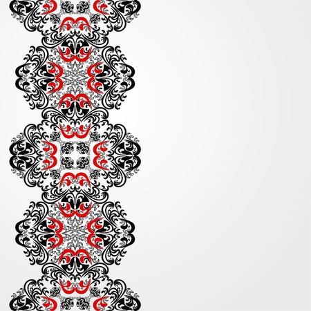 White Background decorated a red-black border