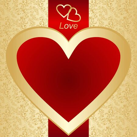 Valentine s Day  Card or a label on a gold background Stock Vector - 17447137