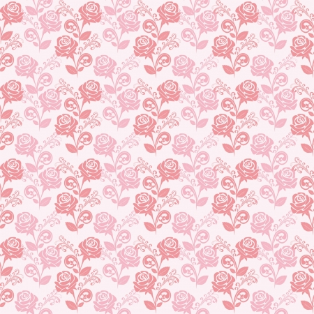 Seamless gently-pink wallpaper with roses  Vector