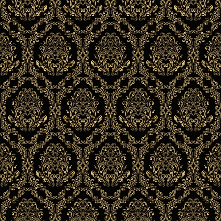 Seamless retro wallpaper in victorian style: gold on black. Vector
