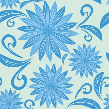 greener: Blue floral seamless pattern. Illustration