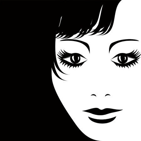 eye shade: Silhouette of the girl s face, rolling in the background, where you can place your information   Illustration