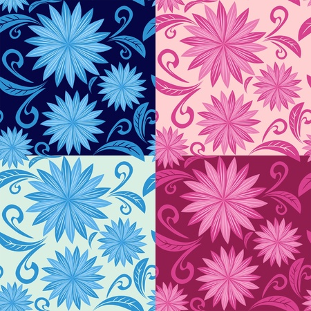greener: Floral seamless pattern in four variants  Illustration