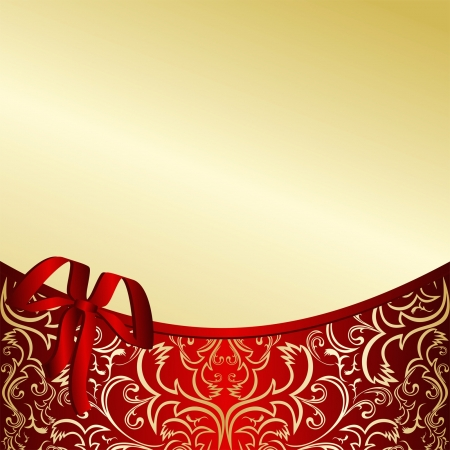 Classy gold background, decorated with a red ribbon  Vector