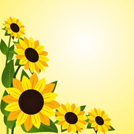 Flower border with Sunflowers  Vector