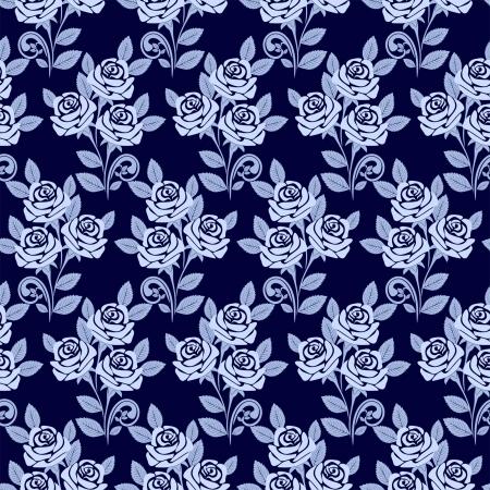 Seamless pattern avec des roses dans les tons de bleu Banque d'images - 18848509
