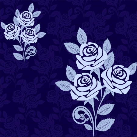 Seamless pattern with large roses in shades of blue