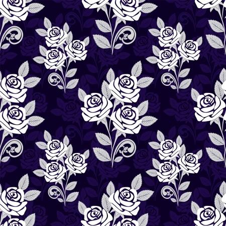 Patrón sin fisuras con las rosas blancas sobre un fondo azul oscuro Foto de archivo - 18848513