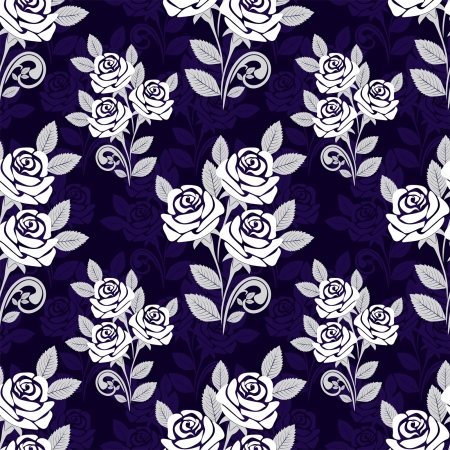 Seamless pattern with white roses on a dark blue background
