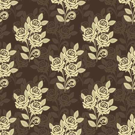 greener: Seamless pattern with roses -  beige and brown design