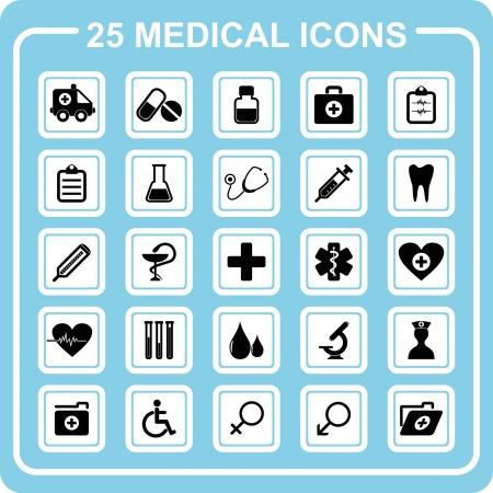 estetoscopio corazon: 25 iconos de m�dicos Vectores