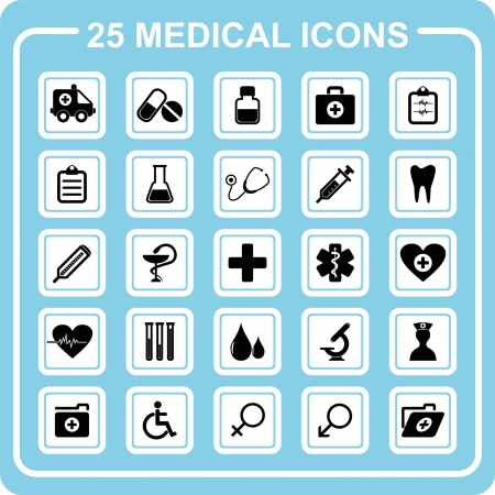 doctor tablet: 25 medical icons