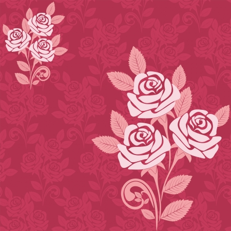 Seamless pattern with large roses in shades of pink