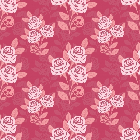 Seamless pattern with roses in shades of pink Vector