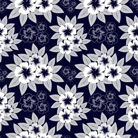 granatowy: Seamless granatowy wzór z białych kwiatów