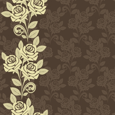 greener: Seamless wallpaper with roses -  beige and brown design