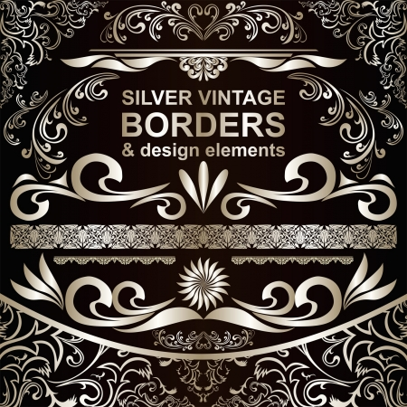 Silver vintage Borders and design elements Иллюстрация