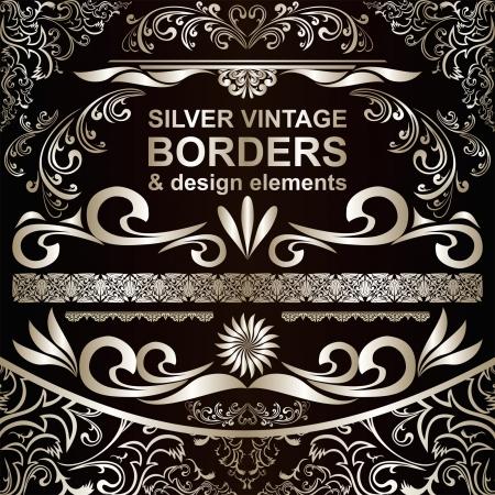 calligraphic design: Silver vintage Borders and design elements Illustration
