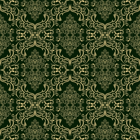 Luxury seamless Wallpaper in style retro - gold on dark green Vector