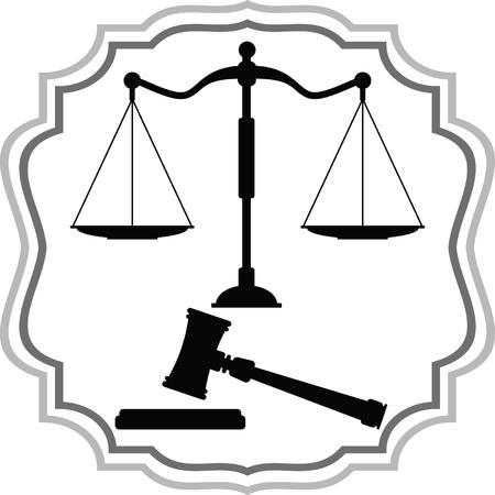 Symbolen van Justitie - schalen en hamer